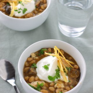 White Chili with Chicken - You might not think of mushrooms right away (or ever) when you think of chili, but in this White Bean Chili with Chicken, mushrooms are a perfect addition.