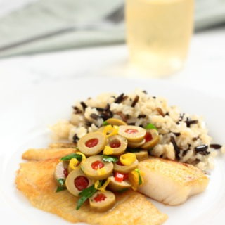 Tilapia with Olive Relish recipe - Double Duty Dinner less than 10 minutes quick and easy. Not only do you get a fast and delicious seafood dinner, but the kids get fish sticks.