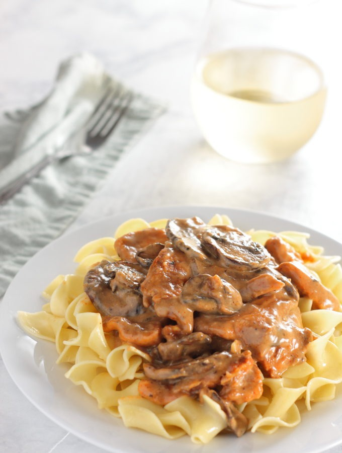 Creamy Chicken Stroganoff; a little lighter than it's beefy predecessor, but just as rich and tangy.