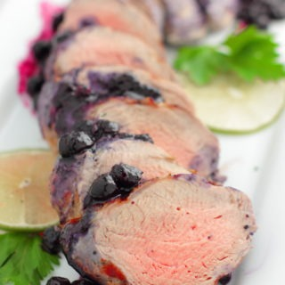 Grilled Pork Tenderloin with Summer Blueberry Sauce – quick, easy and delicious with built in leftovers. What's not to love?!