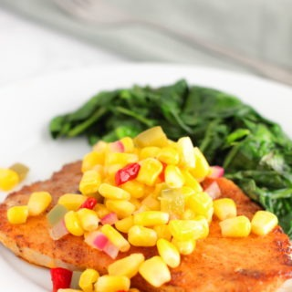 Bursting with the flavors of summer, this quick and easy dinner recipe for Spice Rubbed Pork Chops is topped with a tangy Sweet Corn Relish and no one will guess it took you less than 20 minutes.